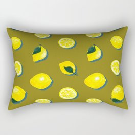 60s Lemon Pattern on Olive Rectangular Pillow