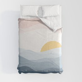 minimalist vector illustration of calm indigo sunset Comforters