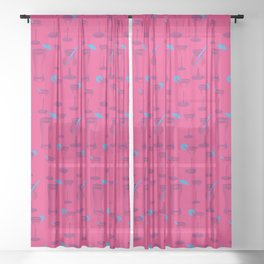 Pink Cocktails Sheer Curtain