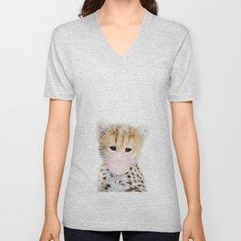 Bubble Gum Cheetah Cub Unisex V-Neck