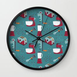 Retro Kitchen - Teal and Raspberry Wall Clock