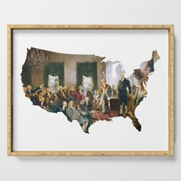 USA MAP The Signing of the Constitution of the United States Serving Tray