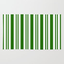 Green and white vertical stripes Rug