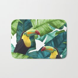 Toucans Tropical Banana Leaves Pattern Bath Mat