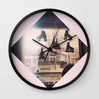 roller derby Wall Clocks featuring Roller Derby by Michelle Wenz