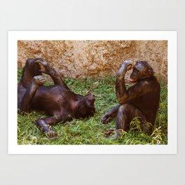 Chillin Chimps Art Print