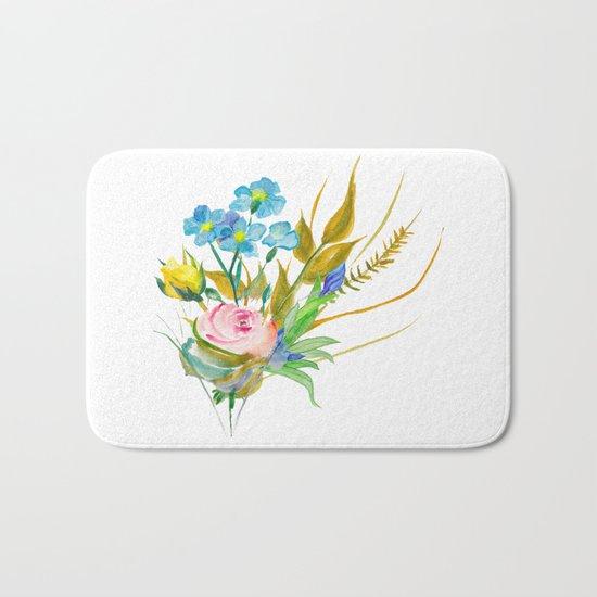 Beautiful Watercolor of Bouquet of Flowers Bath Mat