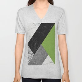 Black and White Marbles and Pantone Greenery Color Unisex V-Neck