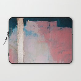Morning Light: a minimal abstract mixed-media piece in pink gold and blue by Alyssa Hamilton Art Laptop Sleeve