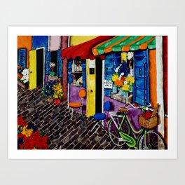 Artist Avenue French France Paris Art Shops Flowers Wine Doors Shutters Street Homes Bike Bicycle Art Print