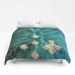 Multicolor Aqua And Gold Mermaid Scales -  Beautiful Abstract Pattern Comforters