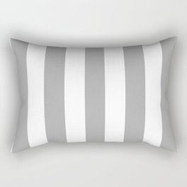 Dark medium gray - solid color - white vertical lines pattern Rectangular Pillow