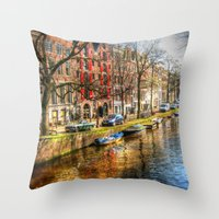 amsterdam Throw Pillows featuring Amsterdam  by haroulita