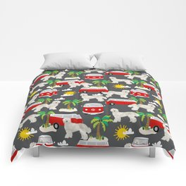 Labradoodle palm trees beaches ocean dog pattern dogs Comforters