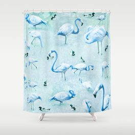 Flamingos Vintage Blue Shower Curtain