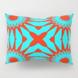 Turquoise & Red Pinwheel Flowers Pillow Sham
