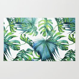 Blue Jungle Leaves, Monstera, Palm #society6 Rug