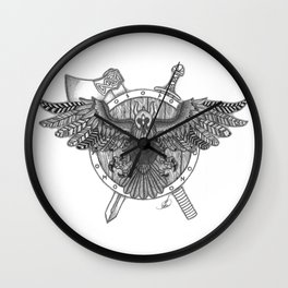 Viking Crow Wall Clock