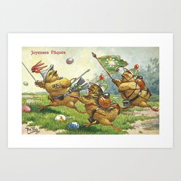 Easter chicks at War charging across field amid toy cannon fired brightly colored Easter eggs Art Print