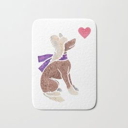 Watercolour Chinese Crested Dog Bath Mat