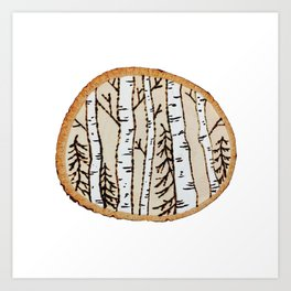 Winter Forest Scene Wood-burned Painting — Pyrography White Forest Pine Tree Painting Art Print
