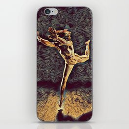 1315s-ZAC Dancer Leaping Air Time Beautiful Black Woman Antonio Bravo Style iPhone Skin