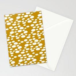Monstera Leaf Hole Pattern - mustard yellow Stationery Cards