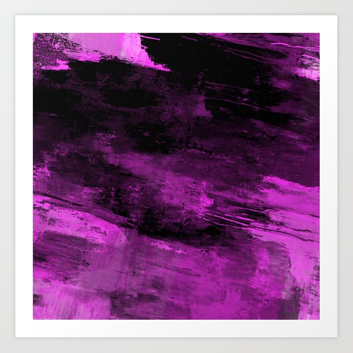 Purple Haze - Abstract, purple and black painting Art Print