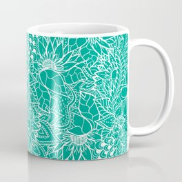 Modern trendy white floral lace hand drawn pattern on emerald green Coffee Mug
