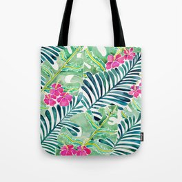 Lush Tropical Fronds & Hibiscus Tote Bag