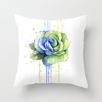 seahawks Throw Pillows featuring Seattle 12th Man Seahawks Rose Watercolor Painting Art by Olechka