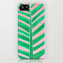 Modern green tropical palm tree leaf watercolor on pink iPhone Case