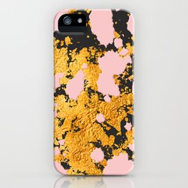 Bling 24-Karat Gold Glitzy Marble on Pastel Pink iPhone Case