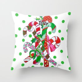 Candy Cane Party Throw Pillow