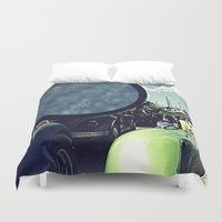 volkswagen Duvet Covers featuring volkswagen turtle car by gzm_guvenc