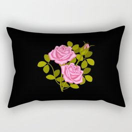 Painted Pink Roses Rectangular Pillow