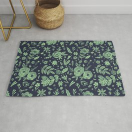 Hand Drawn Flower Pattern 4 Rug