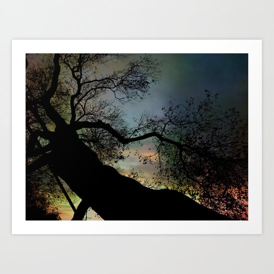 Night Fall by The Tree Art Print