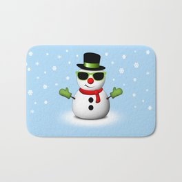 Cool Snowman with Shades and Adorable Smirk Bath Mat
