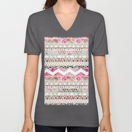 Aztec Spring Time! | Girly Pink White Floral Abstract Aztec Pattern Unisex V-Neck