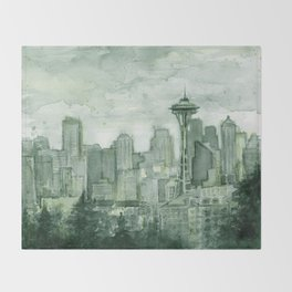 Seattle Skyline Watercolor Space Needle Emerald City 12th Man Art Throw Blanket