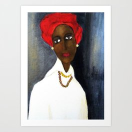Rare African American Portrait of Aicha Goblet in a Red Hat by Amedeo Modigliani Art Print