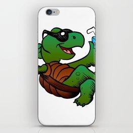 Cartoon Turtle Drinking Cocktail. iPhone Skin