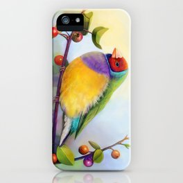 Gouldian finch realistic painting iPhone Case