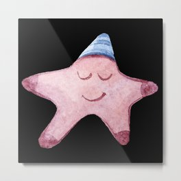 Funny Starfish with sleeping cap smiles Metal Print