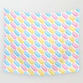 Yellow, Pink and Blue Doodle Gems Pattern Wall Tapestry