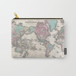 Vintage World Map from 1855 (Geographic Atlas of the World, America, Europe, Australia Map) Carry-All Pouch