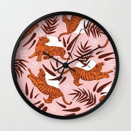 Vibrant Wilderness / Tigers on Pink Wall Clock