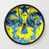 pentagram Wall Clocks featuring Pentagram / Crying roses  by i am gao