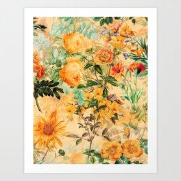 Vintage & Shabby Chic -  Sunny Gold Botanical Flowers Summer Day Art Print